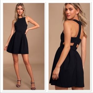 Lulu's Cutout and About Black Skater Dress Med